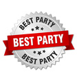 best party 3d silver badge with red ribbon vector image vector image