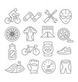 biking line icons vector image vector image