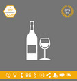 bottle of wine and wineglass icon graphic vector image vector image