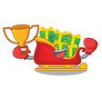boxing winner christmas santa sleigh isolated on vector image vector image