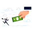 businessman running for dollar vector image vector image