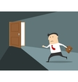 Businessman running to the exit vector image vector image
