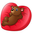 cartoon bear relax on heart shaped bed vector image vector image