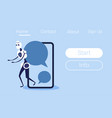 chat bot mobile application screen bubble robot vector image vector image