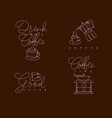coffee pen line symbols brown vector image vector image