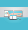 computer monitor and laptop realistic mockup vector image