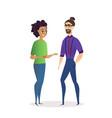 couple of office workers having coffee break talk vector image