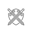 crossed swords and shield outline icon vector image