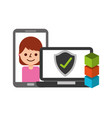 customer smartphone laptop blockchain fintech vector image vector image