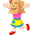cute girl cartoon playing cardboard vector image vector image