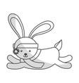 cute shadow christmas rabbit cartoon vector image