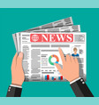 daily newspaper in hands vector image vector image