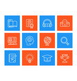 education learning line icons set vector image