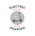 electric scooter rental and sharing logo poster vector image
