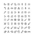 engineering black thin line icon set vector image vector image