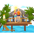 exotic tropical island vacation loved couple vector image vector image