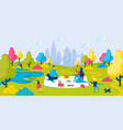 family has picnic in city park summer vacation vector image