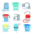 flat set of different water filters metal vector image