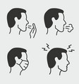 flu symptoms icon set isolated vector image