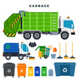garbage collection and disposal set containers vector image vector image