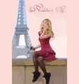 girl in paris romantic eiffel tower on vector image vector image