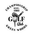 golf championship emblem badge label vector image vector image