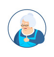 grandmother thumbs up and winks emoji grandma vector image vector image