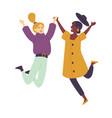 happy dancing people female dancers young women vector image vector image