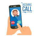 incoming call man face on mobile vector image vector image