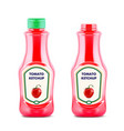 ketchup bottle with fresh tomatoe isolated on vector image vector image