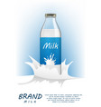 milk bottle realistic package mock up with liquid vector image