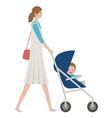 mother with a bain a stroller vector image