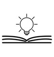 open book with shining bulb flying out flat icon vector image vector image