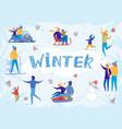 people having fun enjoying winter snow activity vector image vector image