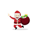 santa claus with gift bag in flat style vector image