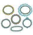 Set of floral doodle frames vector image vector image