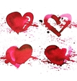 Set of four hand-drawn watercolour red heart