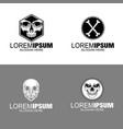 set vintage logo skullhand drawing vector image vector image