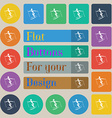 Skier icon sign Set of twenty colored flat round vector image vector image
