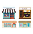 storefront set of different colorful shops market vector image vector image
