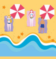 summer people activities young women and man vector image