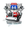 vintage route 66 logo vector image vector image
