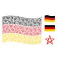waving german flag mosaic of star pentagram items vector image