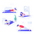 young people doing plank core workout working vector image vector image