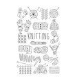 Knitting Black and White Hand drawn Set vector image