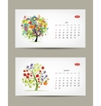 Calendar 2015 july and august months Art tree vector image