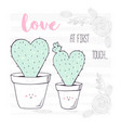 happy heart shaped family of cactuses with a baby vector image