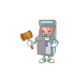 a wise judge arcade game machine in comic strip vector image vector image