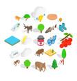 animal world icons set isometric style vector image vector image