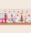 arabic people visitors sitting modern cafe shop vector image vector image